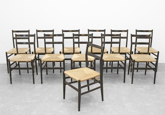 Set of 12 Leggera dining chairs by Gio Ponti for Cassina, 1950s