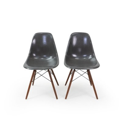Grey Eames DSW Fiberglass Chairs, 1950s