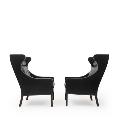 Set of 2 Black Leather Wingchairs by Borge Mogensen, 1960s