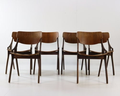 Set of 6 teakwood dining chairs by Hovmand Olsen, 1960s