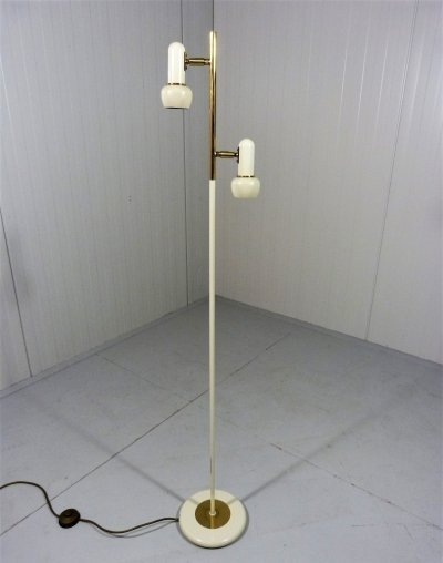 Fifties Floor Lamp in Brass & Cream Lacquer