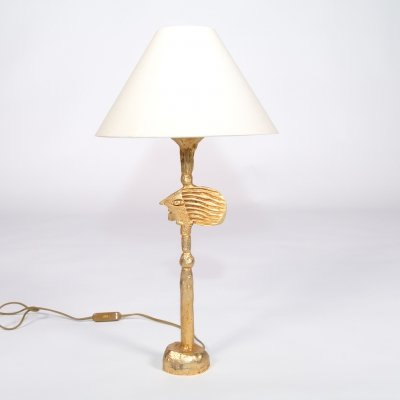 Table lamp by Pierre Casenove in gold-plated bronze with fabric shade