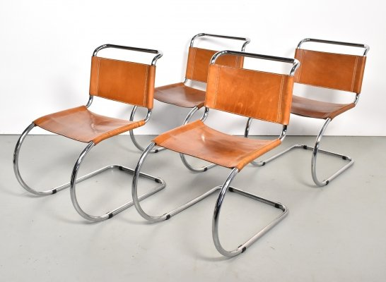 Set of 4 dining chairs by Ludwig Mies van der Rohe for Fasem, 1970s