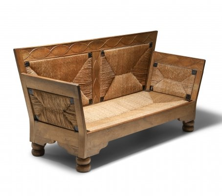 Scandinavian Arts & Crafts Sofa Bench in Oak & Straw, 1920s