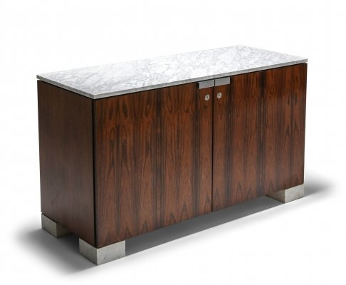 Carrara Marble & Rosewood Cabinet by De Coene, 1960s