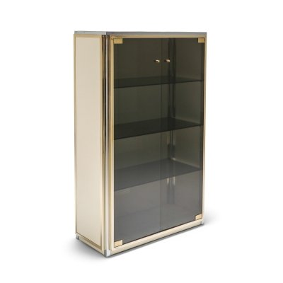 Brass & Chrome Renato Zevi Vitrine Showcase with Glass Doors, 1970s