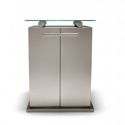 Maison Jansen Cabinet with Floating Glass Top in Brushed Stainless Steel, 1980s