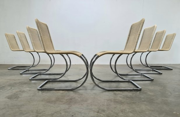 Set of 8 B42/1 Tecta dining chairs by Ludwig Mies van der Rohe, 1960s