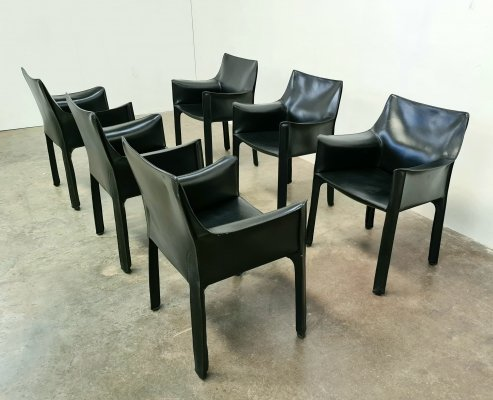 Set of 6 Cassina CAB 413 chairs by Mario Bellini for Cassina