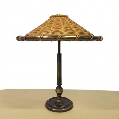 Mid century brass table lamp with rattan shade, 1950s