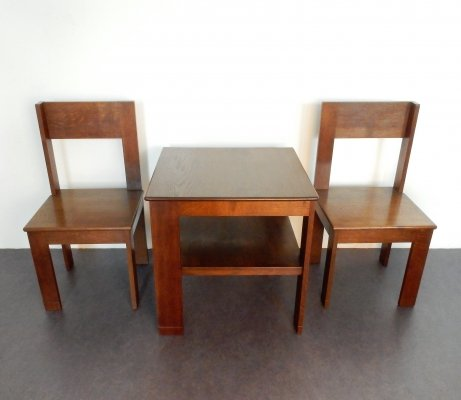 1920's modernist bedroom set of table & chairs for L.O.V. Oosterbeek
