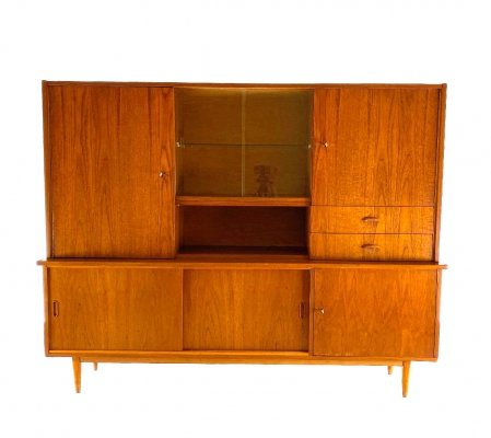 Vintage highboard with showcase, 1960s