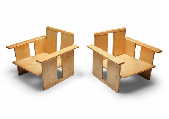 Afra & Tobia Scarpa crate chairs by Maxalto, 1970s