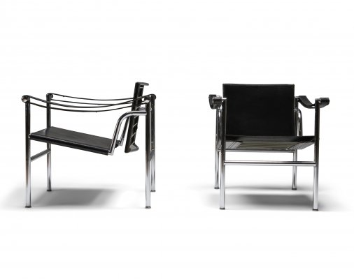 Vintage pair of LC2 chairs by Le Corbusier, Pierre Jeanneret & Charlotte Perriand, 1965