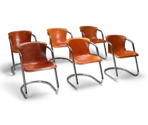 Willy Rizzo tan leather chairs for Cidue, 1970s