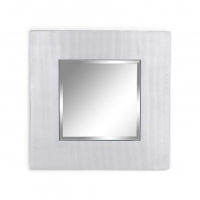 Cast aluminum square mirror by Lorenzo Burchiellaro, 1970s