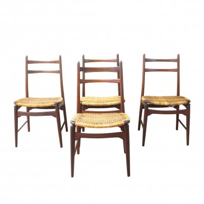 Set of 4 teakwood dining chairs by Hartmut Lohmeyer for Wilkhahn, 1950s