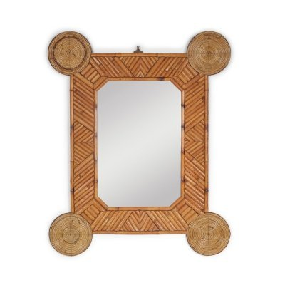 Bamboo & rattan mirror by Arpex, 1970s