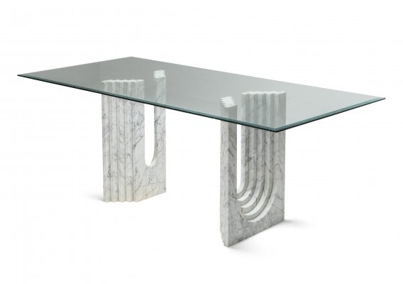 Carrara White Marble Dining Table, 1970s