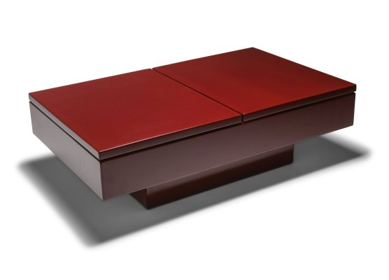 Red Lacquered Sliding Coffee Table by Jean Claude Mahey, 1980s