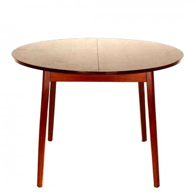 Round extendable dark vintage dining table, 1960s