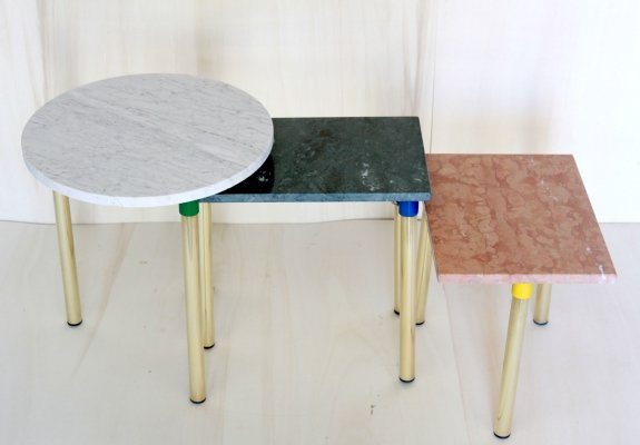 Set of 3 Vintage Marble coffee tables, 1970s