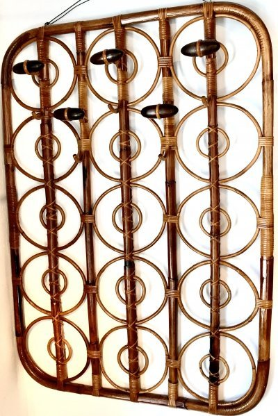 Elegant bamboo wall coat rack, 1970s