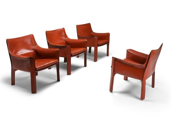 Terracotta red CAB 414 easy chairs by Mario Bellini for Cassina, 1982