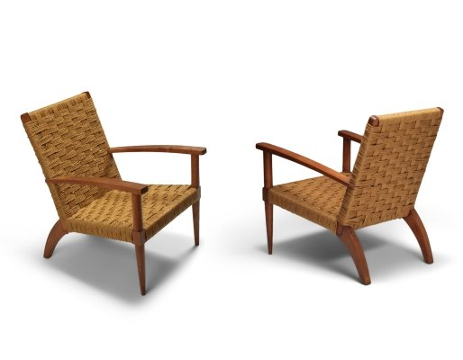 Beech & cord pair of armchairs, France 1960s