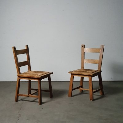 Set of Rustic side chairs with a sophisticated modernist design