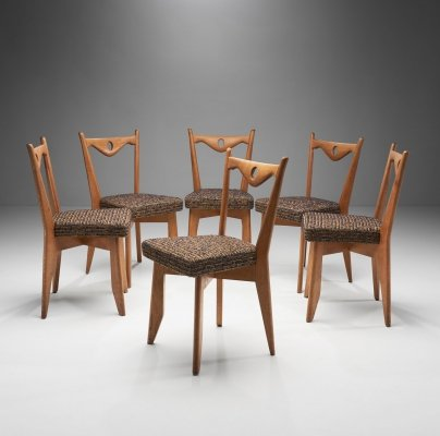 6 Dining Chairs by Guillerme et Chambron for Votre Maison, France 1960s