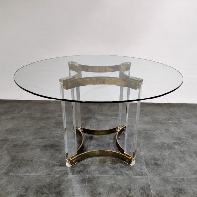 Vintage lucite & brass dining table by Charles Hollis Jones, 1970s