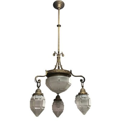 Art Deco Brass & Glass Italian Chandelier, circa 1930