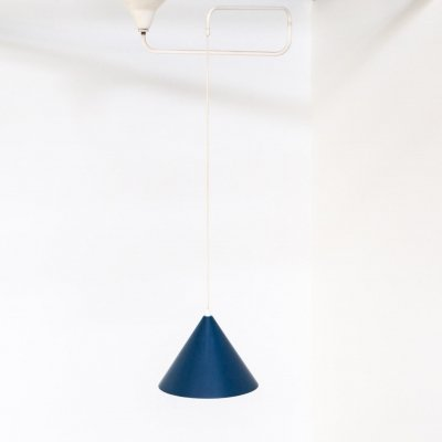 60s blue metal hanging lamp by J. Hoogervorst for Anvia