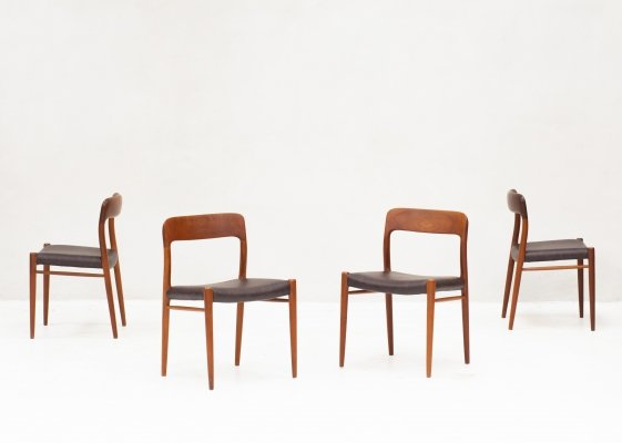 Set of 4 'model 75' dining chairs by Niels Otto Moller, Denmark 1960's