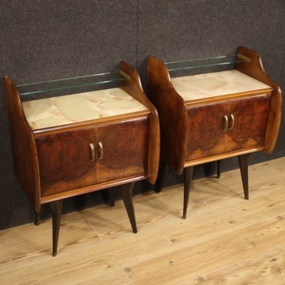 Pair of 20th Century Walnut, Burl & Beech Italian Design Night Stands, 1960