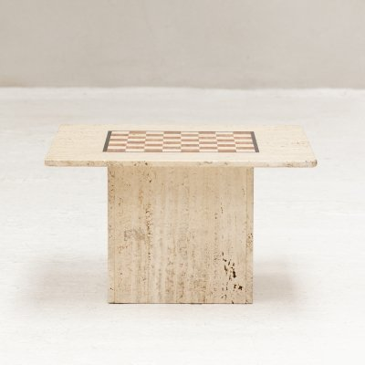Coffee table / chess game table in solid travertine