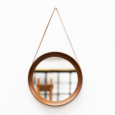 Round porthole mirror with a solid teak frame & leather strap