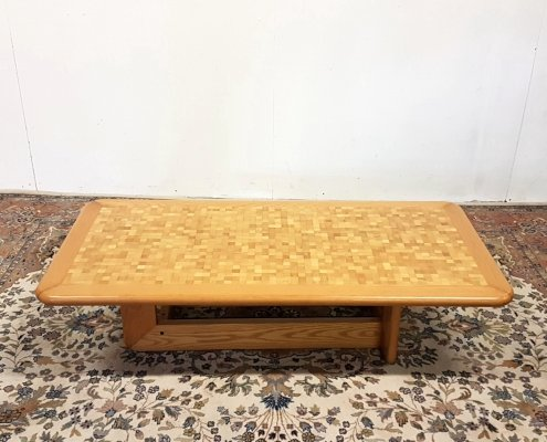 Light oak coffee table with mosaic top, Denmark 1960s