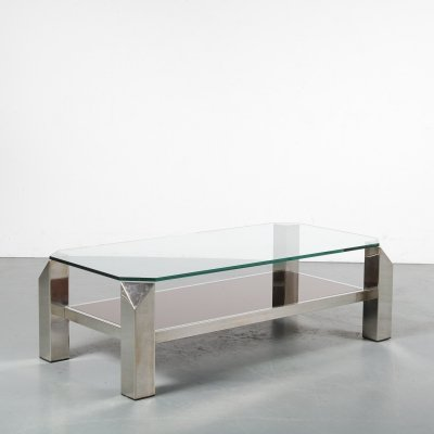 1970s Chrome coffee table by Belgo Chrom, Belgium