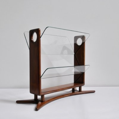 1950s Italian style magazine holder with mahogany frame & glass shelves