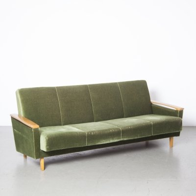 Sofa bed in forest green velour