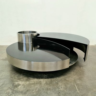 Willy Rizzo coffee table with build in bar, 1970s