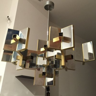 21 Sockets Sculptural Brass & Mirrored Metal Chandelier from Sciolari, 1970s