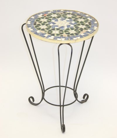 Round Vintage Mosaic Plant Table, 1960s