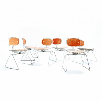 Set of 6 Sleigh wire chairs by Michel Cadestin & Georges Laurent exclusively designed for the famous Center Pompidou in Paris in 1976