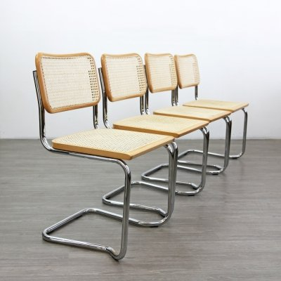 Set of 4 Stacking Cantilevered Rattan Chairs