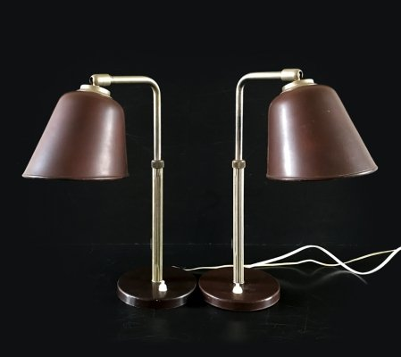 Telescopic Bauhaus desk lamps, 1930's