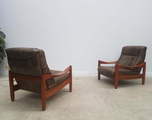 Pair of Leather & Teak High Back Loungers, 1960s
