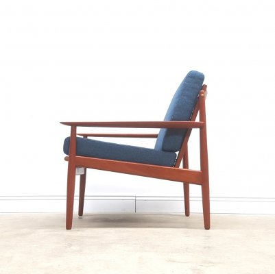 Mid Century Danish Teak Blue Tweed Easy Chair by Arne Vodder for Glostrup, 1950s